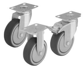 LIGHT DUTY CASTER WITH THERMOPLASTIC RUBBER TREAD